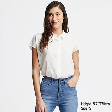 WOMEN LINEN BLEND SHORT-SLEEVE BLOUSE, WHITE, medium