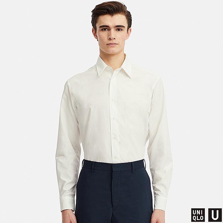 MEN U EXTRA FINE COTTON BROADCLOTH LONG-SLEEVE SHIRT, WHITE, large