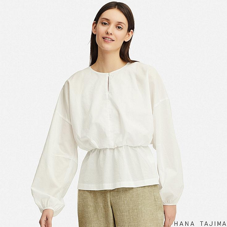WOMEN GATHERED LONG-SLEEVE BLOUSE (HANA TAJIMA), WHITE, large