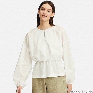 WOMEN GATHERED LONG-SLEEVE BLOUSE (HANA TAJIMA), WHITE, medium