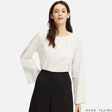 WOMEN SHIRRING GATHERED LONG-SLEEVE BLOUSE (HANA TAJIMA), WHITE, medium
