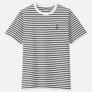 MEN MICKEY STANDS STRIPED SHORT-SLEEVE T-SHIRT, WHITE, medium
