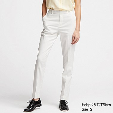 WOMEN EZY ANKLE-LENGTH PANTS (EXTENDED LENGTH) (ONLINE EXCLUSIVE), WHITE, medium