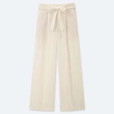 WOMEN BELTED LINEN COTTON WIDE STRAIGHT PANTS (EXTENDED LENGTH) (ONLINE EXCLUSIVE), WHITE, medium