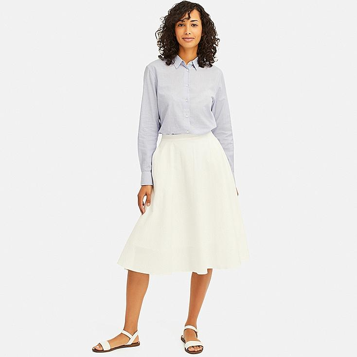 WOMEN SEERSUCKER CIRCULAR SKIRT, WHITE, large