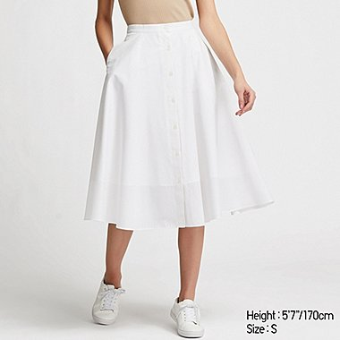 WOMEN FRONT BUTTON CIRCULAR SKIRT, WHITE, medium