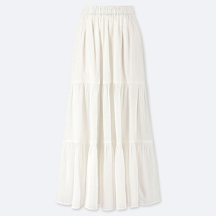 WOMEN TIERED LONG SKIRT, WHITE, large