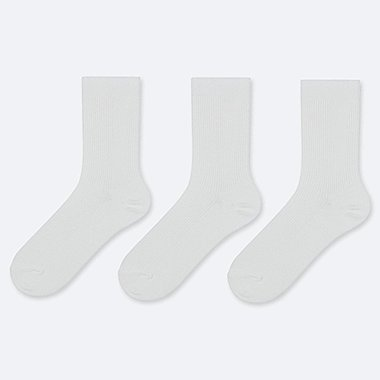 WOMEN RIBBED CALF SOCKS (3 PAIRS), WHITE, medium