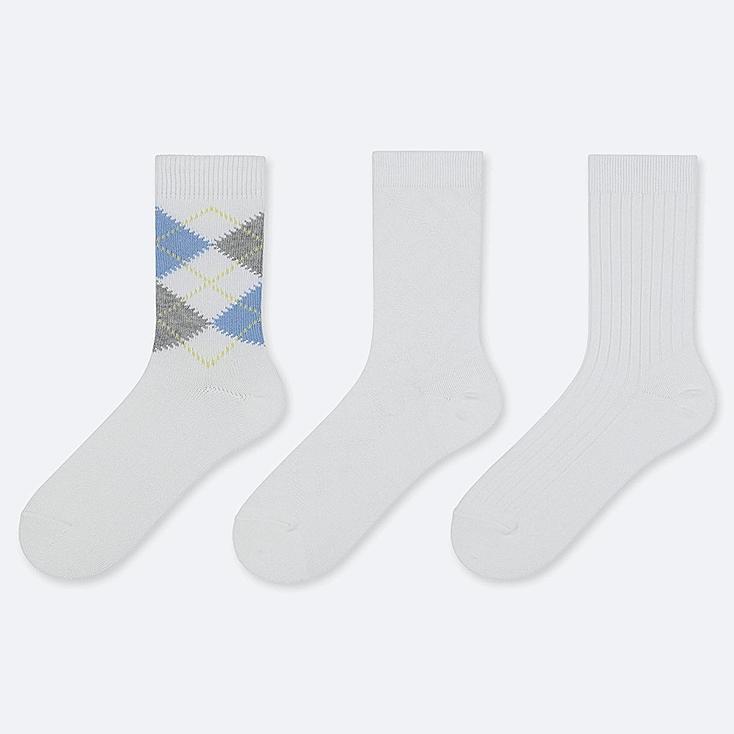 WOMEN ARGYLE CALF SOCKS (3 PAIRS), WHITE, large