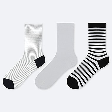 WOMEN STRIPED & SOLID SOCKS (THREE PAIRS)