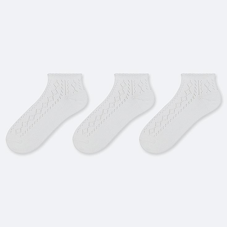 WOMEN MESH SHORT SOCKS (3 PAIRS), WHITE, large