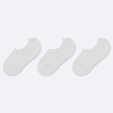 WOMEN PILE MESH FOOTSIES (3 PAIRS), WHITE, medium