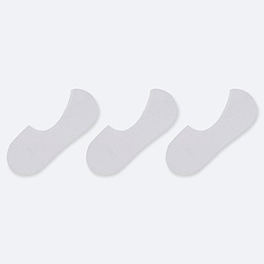 WOMEN PILE FOOTSIES (3 PAIRS), WHITE, medium