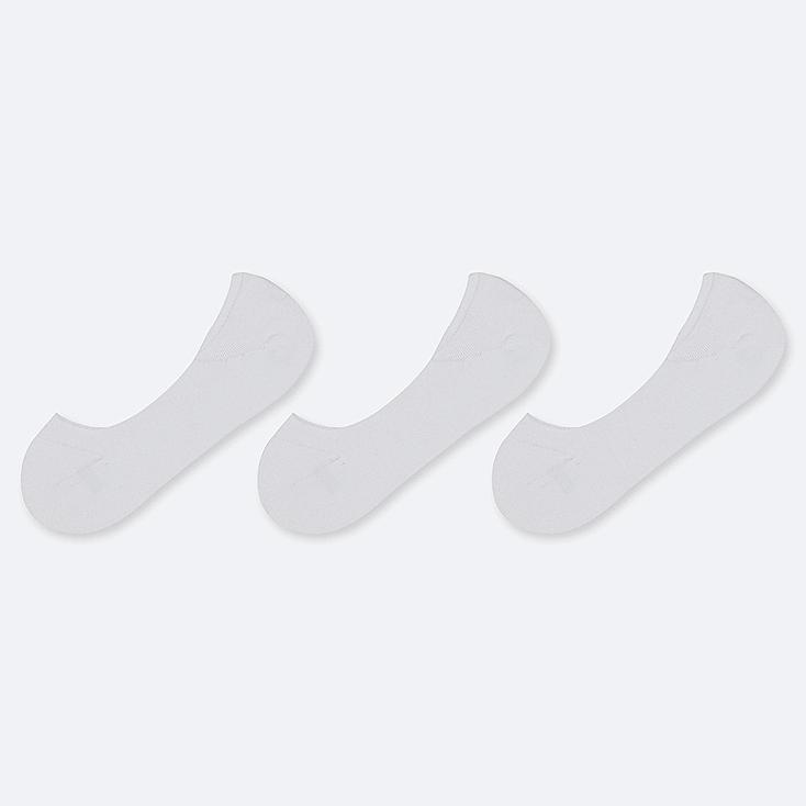 WOMEN LOW-CUT FOOTSIES (3 PAIRS), WHITE, large