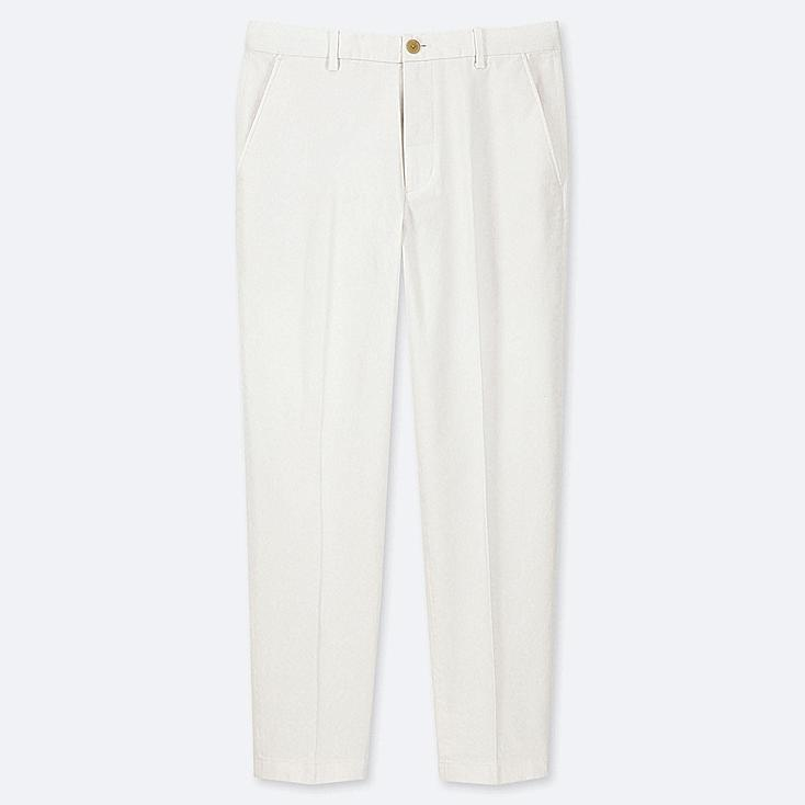 """MEN EZY COTTON RELAXED FIT ANKLE-LENGTH PANTS (TALL 31"""") (ONLINE EXCLUSIVE), WHITE, large"""
