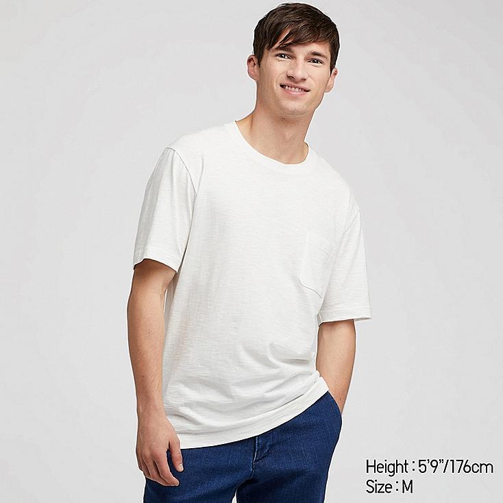 MEN SLUB CREW NECK POCKET T-SHIRT, WHITE, large