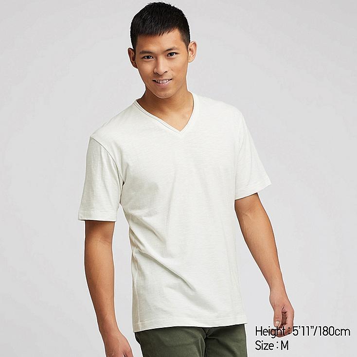 MEN SLUB V-NECK SHORT-SLEEVE T-SHIRT, WHITE, large