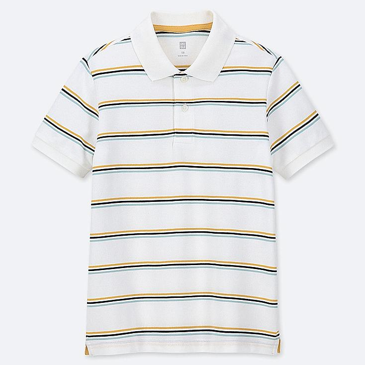 KIDS DRY PIQUE STRIPED SHORT-SLEEVE POLO SHIRT, WHITE, large