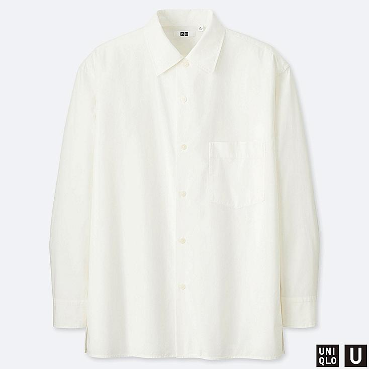 MEN U WIDE-FIT LONG-SLEEVE SHIRT, WHITE, large