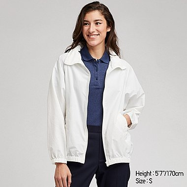 WOMEN STAND COLLAR BLOUSON, WHITE, medium