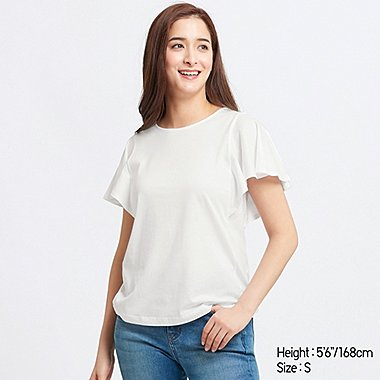 WOMEN RUFFLE SLEEVED T-SHIRT