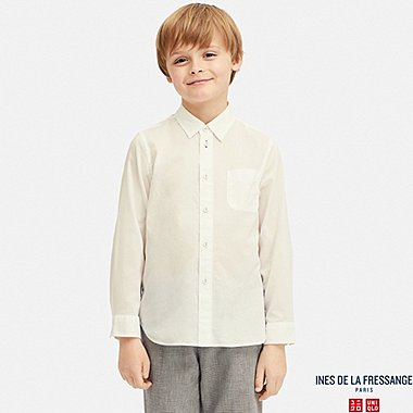 KIDS COTTON LAWN LONG-SLEEVE SHIRT (INES DE LA FRESSANGE), WHITE, medium