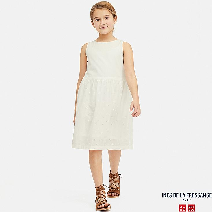 GIRLS EMBROIDERY SLEEVELESS DRESS (INES DE LA FRESSANGE), WHITE, large