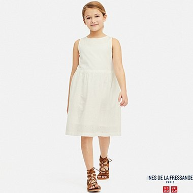 GIRLS EMBROIDERY SLEEVELESS DRESS (INES DE LA FRESSANGE), WHITE, medium