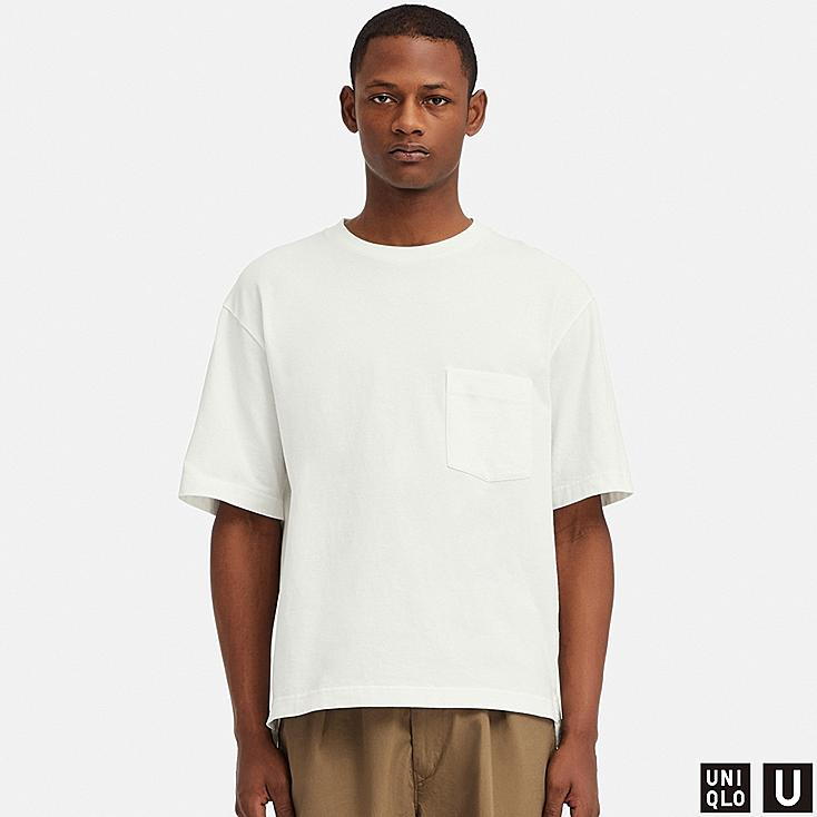 MEN U OVERSIZE CREW NECK SHORT-SLEEVE T-SHIRT, WHITE, large