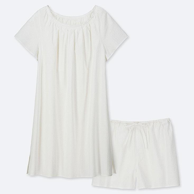 WOMEN COTTON PAJAMAS SHORT-SLEEVE DRESS SET, WHITE, large