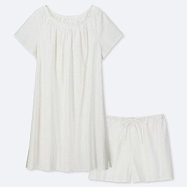 WOMEN COTTON PAJAMAS SHORT-SLEEVE DRESS SET, WHITE, medium