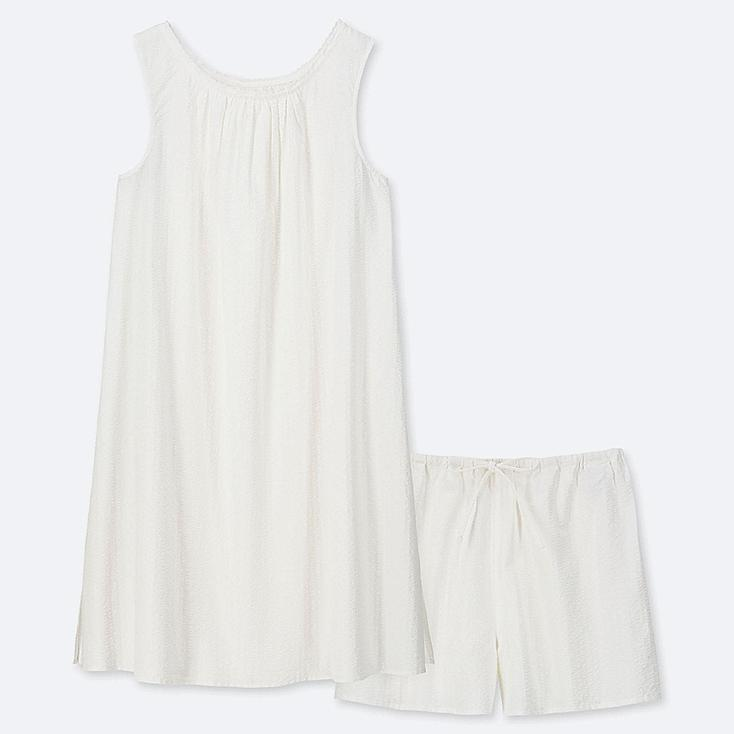 WOMEN COTTON PAJAMAS SLEEVELESS DRESS SET, WHITE, large