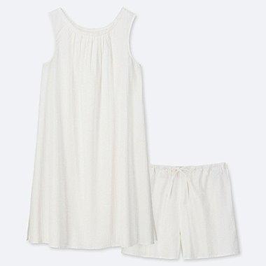 WOMEN COTTON PAJAMAS SLEEVELESS DRESS SET, WHITE, medium