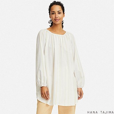 WOMEN GATHERED STRIPED LONG-SLEEVE TUNIC (HANA TAJIMA), WHITE, medium