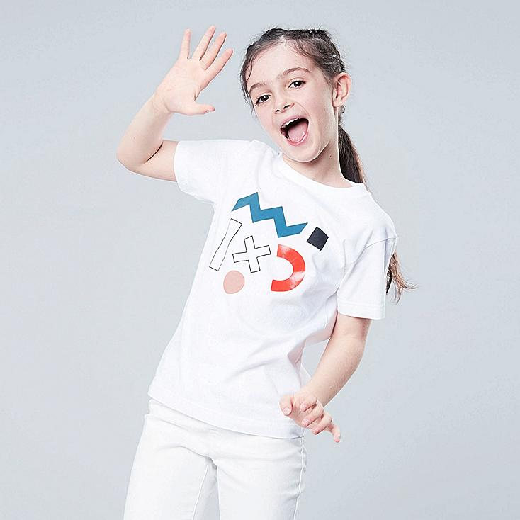 KIDS SUPER GEOMETRIC DUSEN DUSEN UT (SHORT-SLEEVE GRAPHIC T-SHIRT), WHITE, large