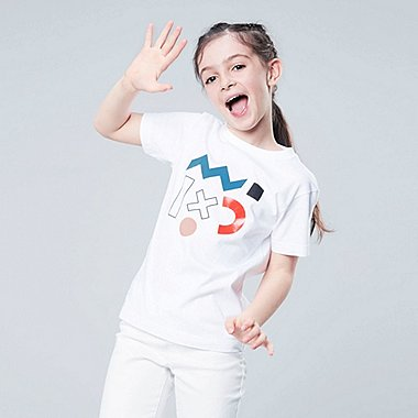 KIDS SUPER GEOMETRIC DUSEN DUSEN SHORT-SLEEVE T-SHIRT, WHITE, medium