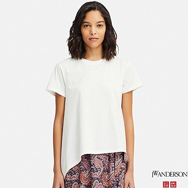 WOMEN JW ANDERSON MERCERISED COTTON ASYMMETRIC T-SHIRT