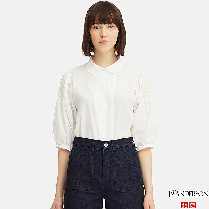 WOMEN 3/4 PUFF SLEEVE BLOUSE (JW Anderson), WHITE, large