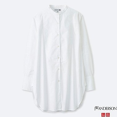 WOMEN TUXEDO LONG-SLEEVE LONG SHIRT (JW Anderson), WHITE, medium