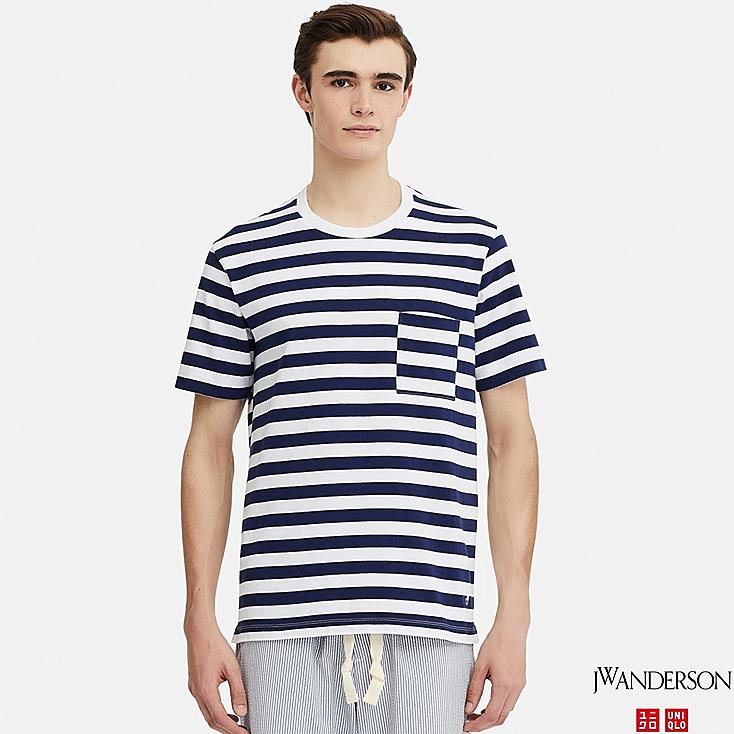MEN ASYMMETRIC STRIPED SHORT-SLEEVE T-SHIRT (JW Anderson), WHITE, large