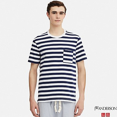 MEN ASYMMETRIC STRIPED SHORT-SLEEVE T-SHIRT (JW Anderson), WHITE, medium