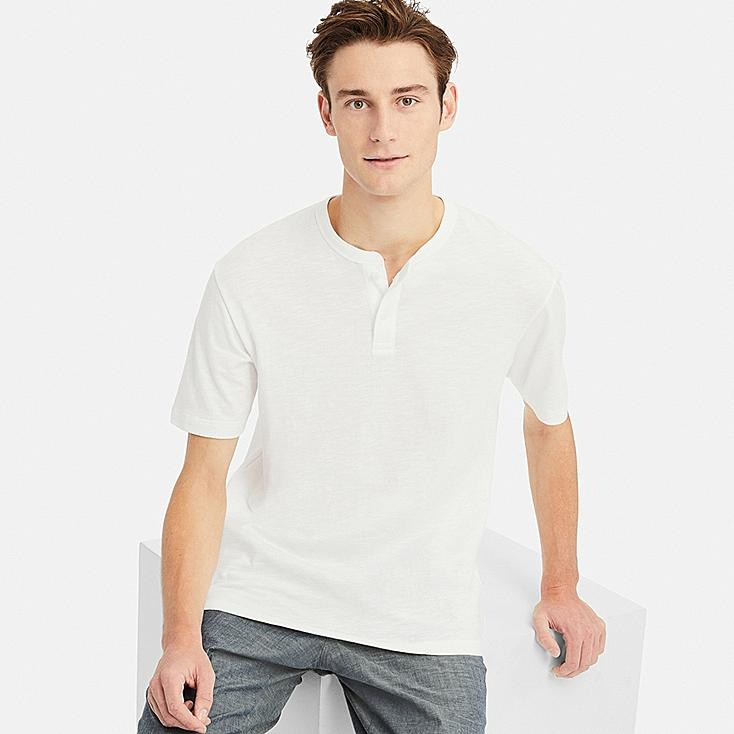 MEN SLUB HENLEY NECK SHORT-SLEEVE T-SHIRT, WHITE, large