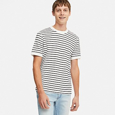 MEN WAFFLE STRIPED CREW NECK T-SHIRT