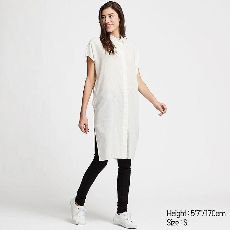 WOMEN LINEN BLEND SHORT-SLEEVE LONG SHIRT, WHITE, large