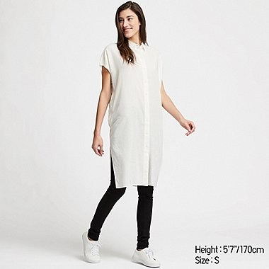 WOMEN LINEN BLEND SHORT-SLEEVE LONG SHIRT, WHITE, medium