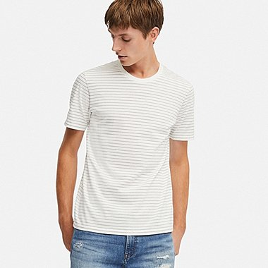 MEN SUPIMA® COTTON STRIPED SHORT-SLEEVE T-SHIRT, WHITE, medium