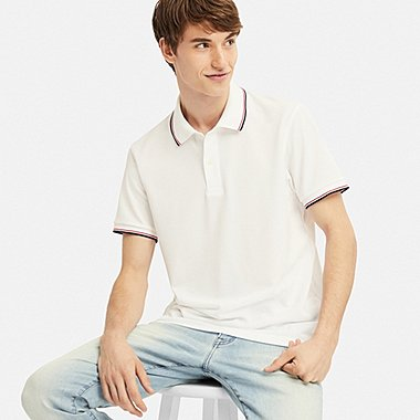 MEN DRY-EX PIQUE SHORT-SLEEVE POLO SHIRT, WHITE, medium
