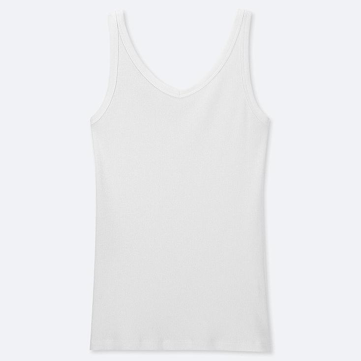 WOMEN COTTON BLENDED RIBBED V-NECK SLEEVELESS TOP, WHITE, large