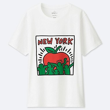 WOMEN SPRZ NY SHORT-SLEEVE GRAPHIC T-SHIRT (KEITH HARING), WHITE, medium