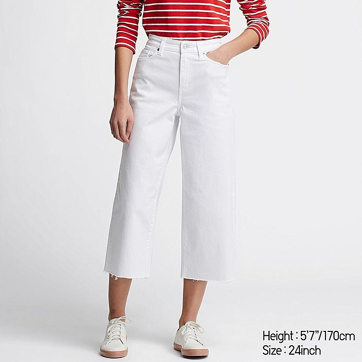 WOMEN HIGH-RISE WIDE CROPPED JEANS, WHITE, large